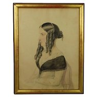 19th Century Watercolor Portrait of a Lady by Moses Haughton the Younger Dated 1845 Howl Family Interest
