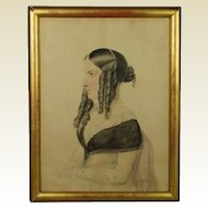 Antique Watercolor Portrait of a Lady by Moses Haughton the Younger Dated 1845 Howl Family Interestst
