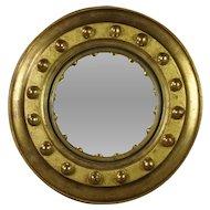 Vintage Empire Style Convex Mirror Small Circular Giltwood  French Circa 1930
