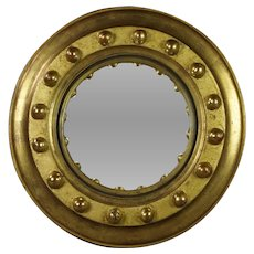 Vintage Empire Style Convex Mirror Small Circular Giltwood  French Circa 1930