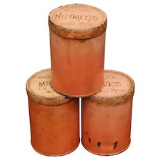 Painted Tin Canister Set Folk Art Circa 1910 Super Patina