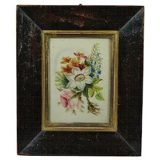 Antique English 19th Century Miniature Watercolor Painting Flowers Late Georgian Circa 1830 Floral