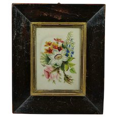 Georgian Miniature Watercolor Painting Flowers Late Circa 1830