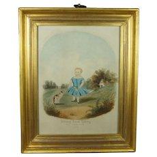 19th Century Cat and Child Watercolor Painting Lemon Gilt Frame Folk Art Cat 1860