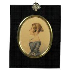 19th Century English Watercolor Portrait Miniature Young Lady Blue Dress Signed B W Gilbert Circa 1840