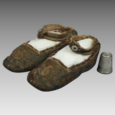 Antique Georgian Baby Children's Shoes Brocaded Silk Circa 1810