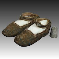 Antique Georgian Infants Shoes Brocaded Silk Circa 1810 or For Big Doll