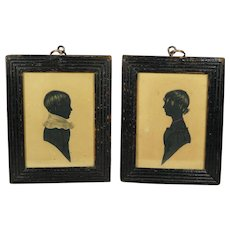 Antique Silhouette Portrait pair Named Brother And Sister Georgian Folk Art Circa 1835