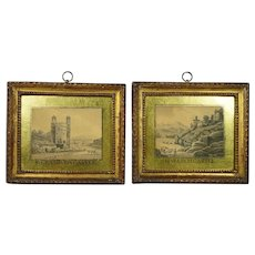 Antique Welsh Castle Landscape Watercolor Painting Pair Eglomise Frames British Folk Art Georgian Circa 1790