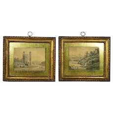 18th Century Pair Watercolor Painting British Castles Gilt  Eglomise Frames Folk Art Georgian Circa 1790