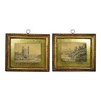 Rarest Pair Georgian Miniature Watercolours Gold Eglomise Named Welsh Castles Circa 1790