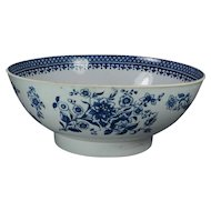 Antique Blue and White Bowl English Porcelain Circa 1780 Georgian 18th Century