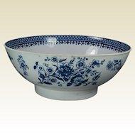 Antique Blue and White Bowl English Porcelain Circa 1780 Georgian 18th Century