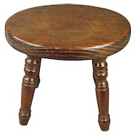 19th Century English Country Stool Circa 1820 For Child or Doll Folk Art