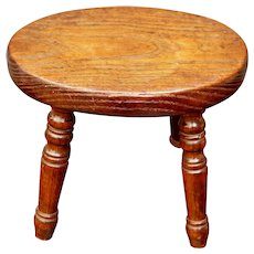 Antique Primitive Small English Country Stool Circa 1820 For Doll Teddy Child