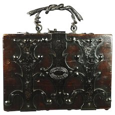 Antique Arts And Crafts Box Iron and Wood Brief Case Pugin Gothic Revival Snake Handle Circa 1880