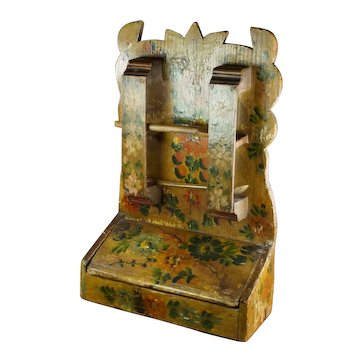 Antique 19th Century French Hand Painted Wall Cupboard, Wall Box Circa 1845