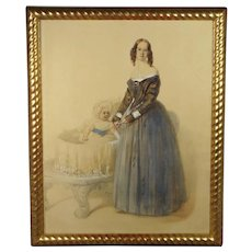 Antique Cictorian Watercolor Portrait Circa 1850 Mother And Baby English School STUNNING