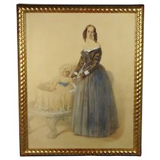 19th Century Watercolor Portrait Circa 1850 Mother And Baby English School STUNNING