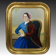 Antique Portrait Lady Blue Dress Oil Painting Circa 1860
