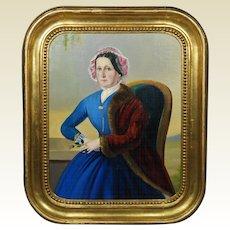 Antique Portrait Lady Blue Dress Oil Painting Circa 1860