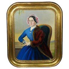 Antique 19th Century Oil Painting Portrait Lady Blue Dress Circa 1860 Civil War Era