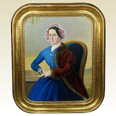 19th Century Oil Painting Portrait Lady Blue Dress Circa 1860 Civil War Era