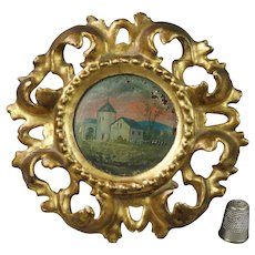 Antique French Miniature Oil Painting On Panel Circular Gilt Wood Frame Circa 1900
