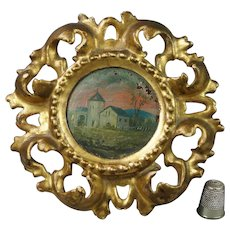 Antique French Miniature Landscape Oil Painting On Panel Circular Gilt Wood Frame Circa 1900