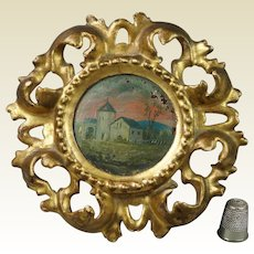 Antique French Miniature Religious Landscape Oil Painting On Panel Circular Gilt Wood Frame Circa 1900