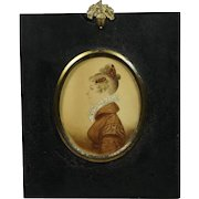 Antique Regency Portrait Miniature On Card  Lady Mantilla Comb Hair Circa 1815 Georgian