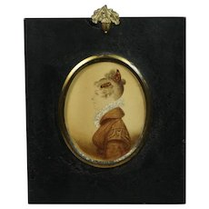 Antique Regency Portrait Miniature Lady Mantilla Hair Comb Circa 1815 Georgian