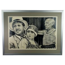 20th Century Graphite Pencil Drawing by Eric Scott of Pablo Picasso and  Paper Moon Film Characters C 1973
