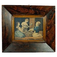 Antique Primitive Folk Art Grain Painted Frame Engraving of Children Fishing Georgian Circa 1820