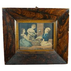 19th Century Primitive Folk Art Frame Scumble Glaze Grain Painted with Engraving of Children Circa 1820