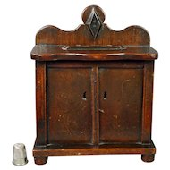 Antique English Folk Art Money Box Coin Bank Chest Of Drawers Shape Makers Stamp Great Patina Circa 1860