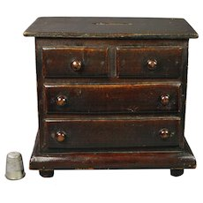 Antique English Folk Art Coin Bank Money Box Miniature Chest Of Drawers Victorian Circa 1880