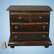 19th Century English Folk Art Coin Bank Money Box Miniature Chest Of Drawers Victorian Circa 1880