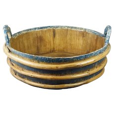 Large 19th Century Blue Painted Wash Tub Bowl Circa 1840 STUNNING