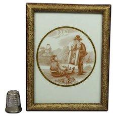 Antique Miniature Grodnertal Doll Porcelain Plaque Rare Pedlar Dolly Scene Circa 1850