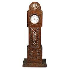 Antique Folk Art Treen Watch Hutch Longcase Clock Pocket Watch Holder Circa 1840