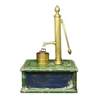 Antique 19th Century Toy Model Water Pump, English Scratch Built Folk Art Circa 1880