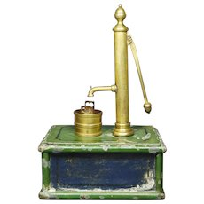 19th Century Miniature Victorian Toy Model Water Pump, English Scratch Built Folk Art Circa 1880