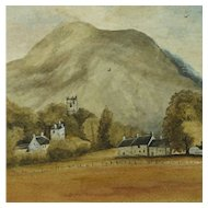 Scottish Watercolor Landscape Rural Scene of Dalmally Folk Art Dated 1934