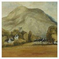 Scottish Watercolor Landscape Rural Scene of Dalmally Folk Art Dated 1934