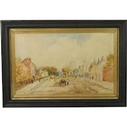 Antique Watercolor of English 19th Century Village Street Scene