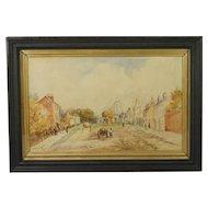 Antique Watercolor English 19th Century Village Landscape