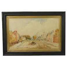 Antique Watercolor Painting English Village Landscape