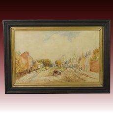Antique Watercolor Painting English Village Landscape