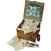 Antique 19th Century Schoolgirl Prize For Needlework Knitted Darning Sampler Wicker Work Sewing Basket  Edith Shaw 1900